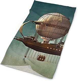 Surreal Sky Landscape With Steampunk Airship Elastic Seamless Bandana Versatile Sports & Casual Headwear 9.8x19.7inch