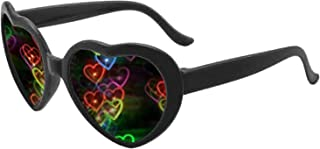 Heart Effect Diffraction Glasses -See Hearts!- Rave Lights Glasses Heart Shaped Special Effect EDM Festival Light Changing...