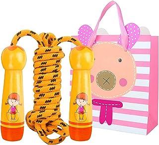 CJRNBU Hopprep för barn, sött tecknat trähandtag och ett hopprep med justerbar hastighet barnen i åldern rephoppar 6–10 år...