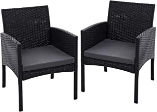 Gardeon Outdoor Bistro Chairs Patio Furniture Dining Chair Wicker Garden Cushion