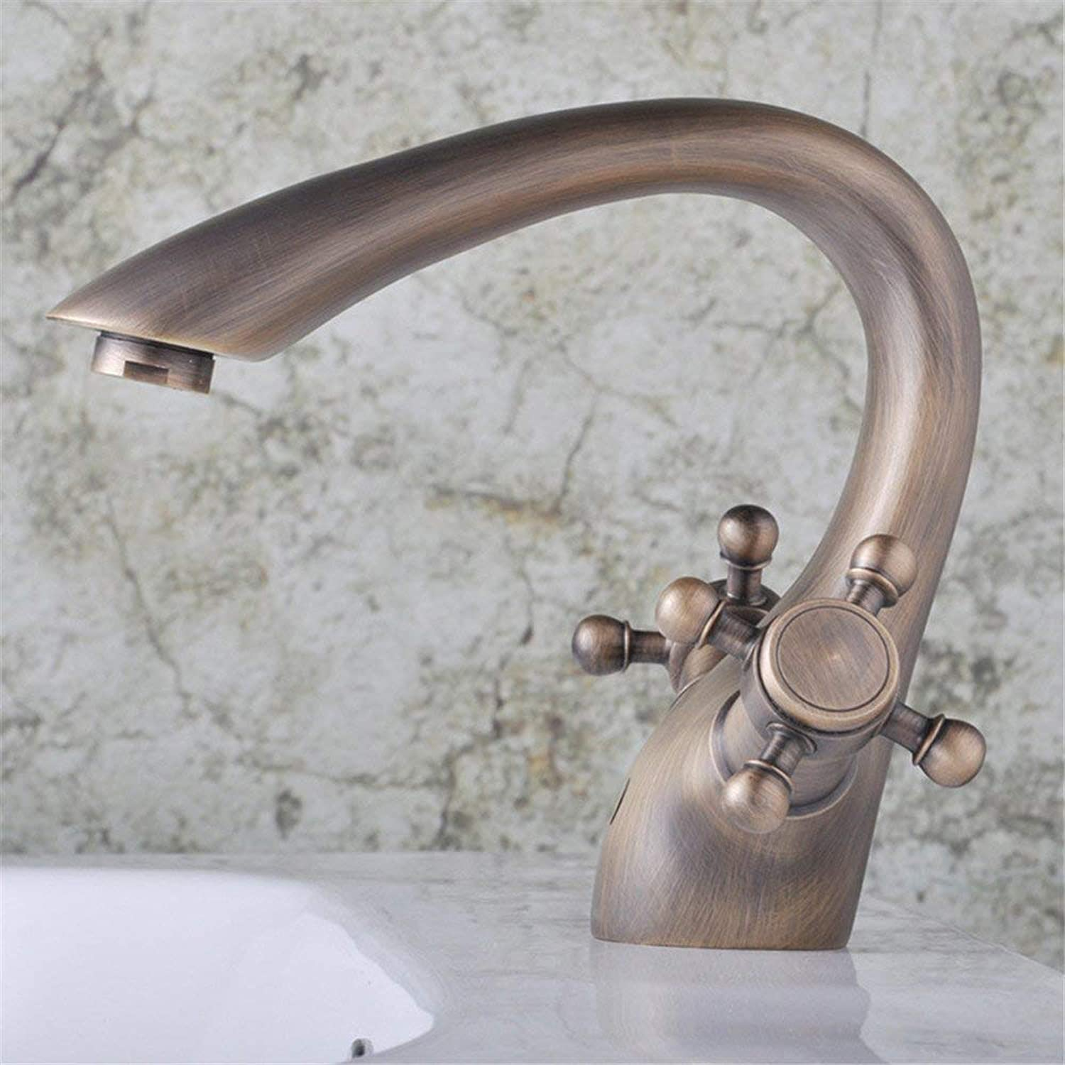 Oudan Mixing Water Faucet Antique Basin Taps His Hands Round (color   -, Size   -)