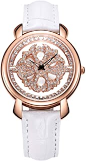 NAKZEN Women Analogue Quartz Watch Fashion Unique Design Hollow Flower Diamond Waterproof Watch with Rotating Diamond Dial and Mesh Band Leather Strap