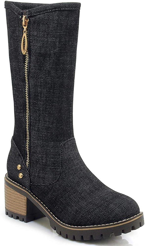 T-JULY Women's Mid Calf Boots Denim Thick High Heel Round Toe Fashion Zipper Autumn Girls Half Boots