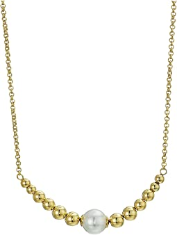 10mm Round Pearls on Gold Plated Steel Pendant with Beaded Accents Necklace 15-25""