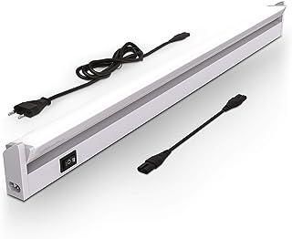 B.K.Licht Iluminacion bajo armarios giratoria I Pantalla Carcasa color plata I 55,7x6,1x2,4cm LED iluminacion bajo mueble, Tubo fluorescente con interruptor de luz I 2700K - 4000K, 650-740lm