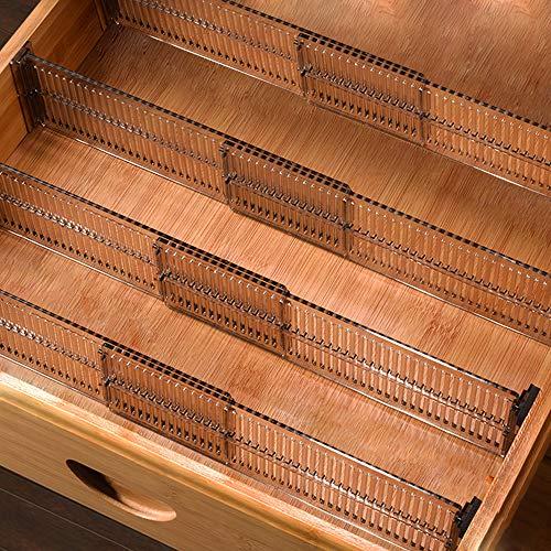 Baffect Divisori per cassetti, Confezione da 4, Separatori per cassettiera per cassetti Separatori espandibili 51-27,5 cm, Organizer per cassetti Multi Cucina per Bagno