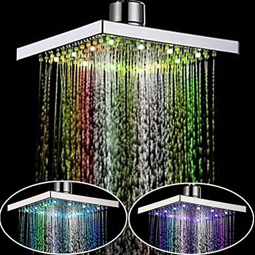 Pommeau de douche carré à LED 7 couleurs variables Chromé 20 cm