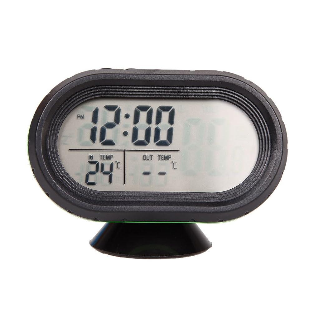 もまたはどちらか特異性車用 時計?温度計 多機能 2イン1コンパクト車載温度計?クロック 車内装飾 デジタル温度計と時計 車中泊 長距離 旅行 SIKIWIND (タイプ1ーグリーン)