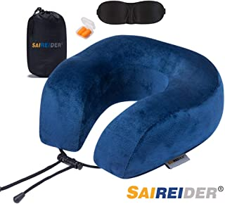 SAIREIDER Travel Pillow 100% Memory Foam Airplanes Neck Pillows -Prevent The Heads from..