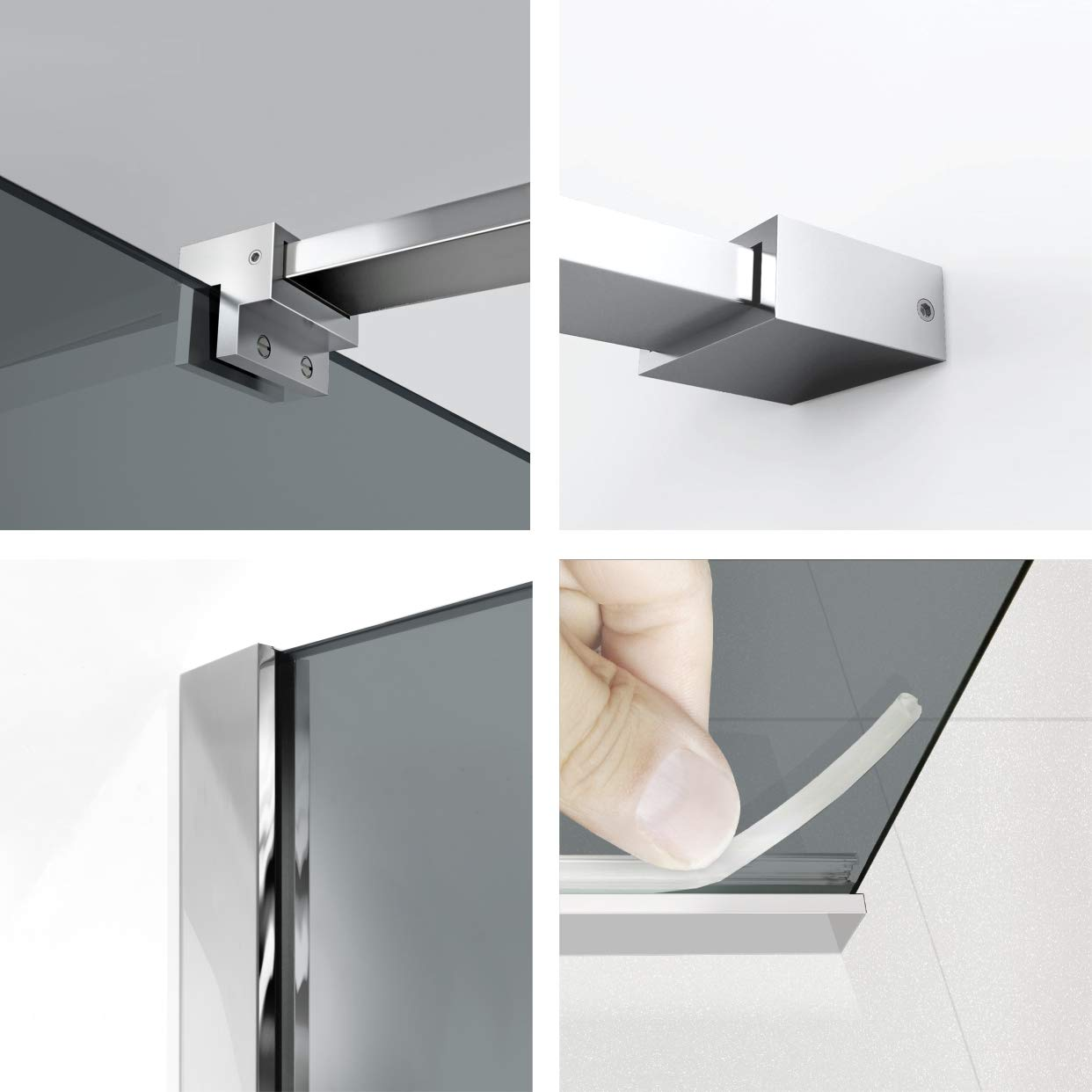 Modern Glass Art Leroy - Mampara de ducha (8 mm, acero inoxidable ...