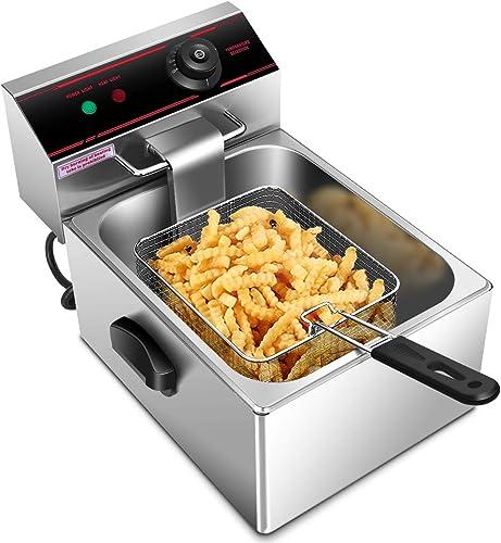 new arrival Giantex 1700W Commercial Deep Fryer Electric Countertop Fryer Restaurant online sale Kitchen Frying 6L Single Tank w/Fryer Basket Scoop outlet sale Professional Grade online