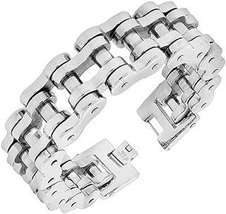 VPKJewelry Men's Stainless Steel Silver Motorcycle Bike Biker Link Chain Bracelet - 23 mm Wide