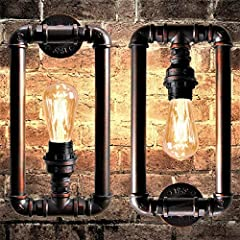 Long Life Lamp Company Vintage Industrial Water Pipe Wall Light Rustic Lamp Metal Steampunk #3