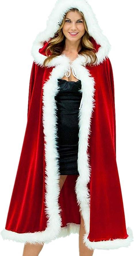 Pervobs Merry Christmas Womens Cloak Family Matching Velvet Christmas Hooded Cape Santa Coat