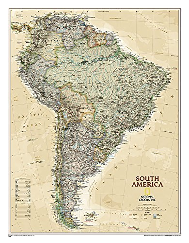 South America Executive, Tubed: Wall Maps Continents (National Geographic Reference Map)