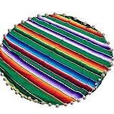 Runder Teppich Süßigkeiten Regenbogen Gestreiften Mexikanischen Bodenteppich mit Pompon Teppich Kinder Spielmatte für Wohnzimmer Flur Kinderzimmer 59Inch