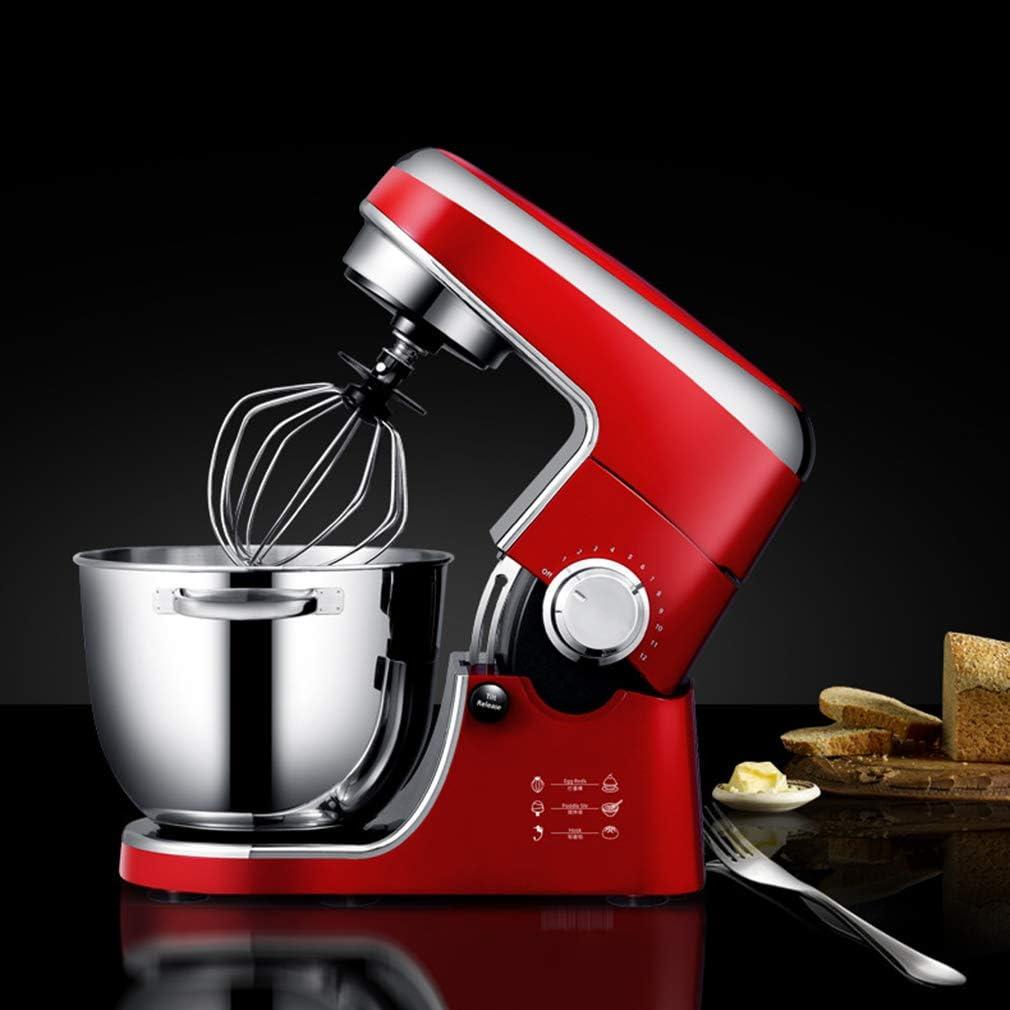 Staande mixers, home mini automatische kneder/koek/room/broodbakmachine, 4.3L grote capaciteit gelijkmatig mengen 6 instelbare snelheden, 1000W. Red