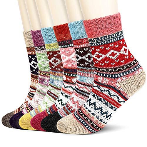 Jovego Socken Damen,6 Paar Damen Warme Bunte Gemusterte Atmungsaktiv Warm Weich Bunte Farbe Premium Qualität Wollesocken Stricksocken Wintersocken