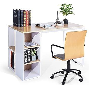 Furniture R France Bureau Informatique Table D Ordinateur Poste De Travail Etageres Casiers De Rangement Bois Blanc Amazon Fr Cuisine Maison