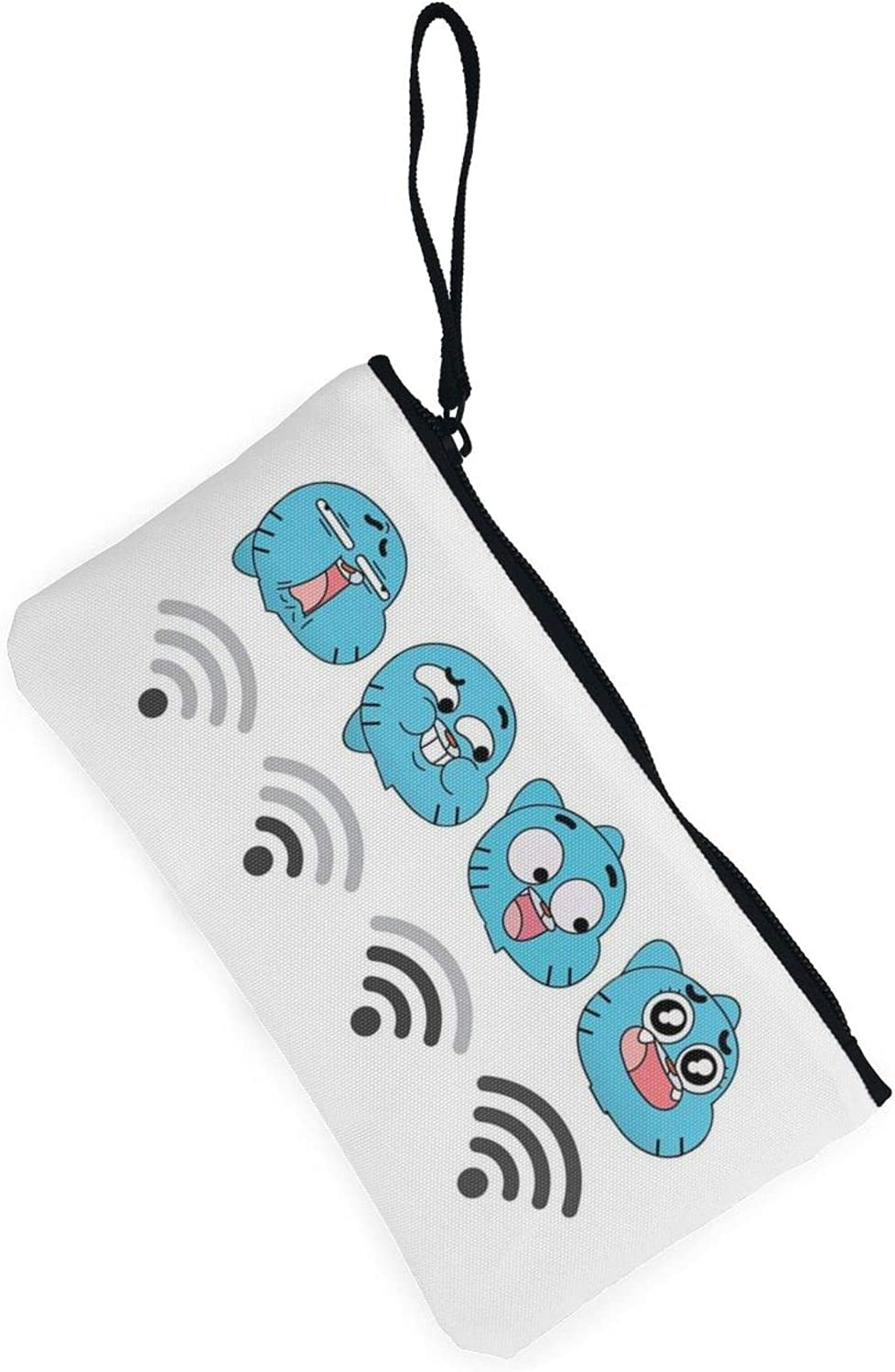 AORRUAM Cute Gumball Emoticons Wifi Canvas Coin Purse,Canvas Zipper Pencil Cases,Canvas Change Purse Pouch Mini Wallet Coin Bag