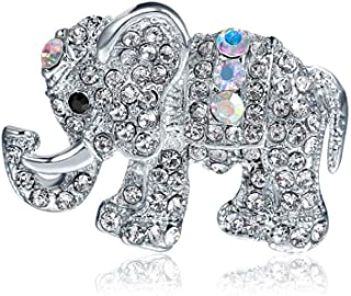 N/W Elephant Animal brooches for Women Alloy Rhinestone Brooch Pin for Women, Girls, Ladies(Silver Color)