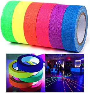 Xindejia UV Blacklight Reactive Fluorescent Cloth Tape Glow in The Dark Neon Gaffer Tape Birthday Christmas Party Supplies.Each roll is 0.6 inch x 16.5 ft (6-Pack)