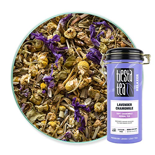 Tiesta Tea, Lavender Chamomile, Soft Chamomile Herbal Tea, 50 Servings, 2 Ounce Tin, Non-Caffeinated, Loose Leaf Herbal Tea Relaxer Blend