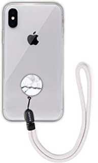 MOXYO - Zigi Band - Universal Cell Phone Lanyard and Wrist Strap, Works with All Smartphones and Tablets Including iPhone and Galaxy & Most Cases (White/Grey Marble w/Grey Lanyard)