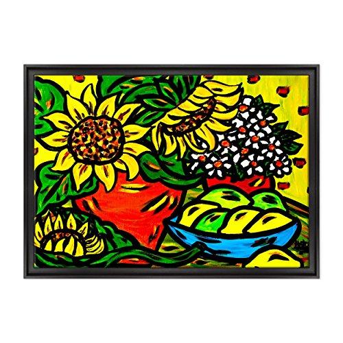 Bild auf Leinwand Canvas–Gerahmt–fertig zum Aufhängen–Stillleben Kubismus Stil Picasso Dimensione: 70x100cm C - Colore Nero Contemporaneo