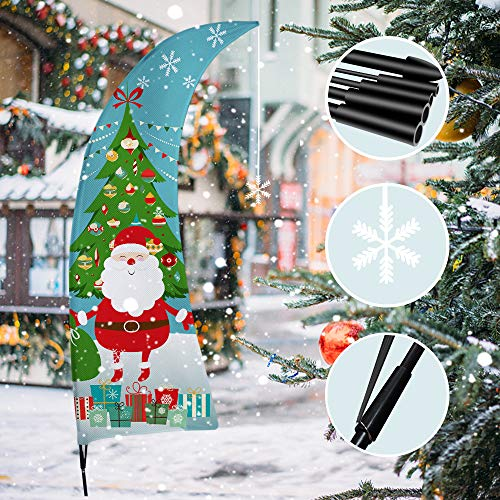 QSUM Christmas Decorations Outdoor,6FT Tall Christmas Flag for Garden Decor,Business Swooper Feather Flag with Pole Kit for Storefront Xmas Decorations,1 Pack