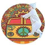 Alfombra redonda para gatear de bebé gruesa para niños, alfombra de juego con impresión 3D, alfombra suave de 70 cm, lavable a máquina, mini furgoneta hippie