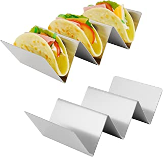 Amazer 2-Pack Taco Holder Stand, Large Stainless Steel Taco Rack Hold Hard or Soft Taco Shells, Oven Safe for Baking Dishwasher and Grill Safe -Hold 2 or 3 Tacos