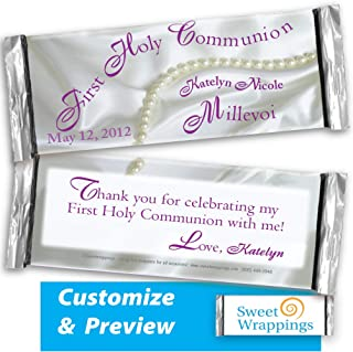 Personalized Candy Bar Wrappers | Christening, Gift, Baptism, Baby Event | Satin & Pearls Christening | Party Favor, Personalized, Custom | (36 Wrapper Kit), Fits Hershey's 1.55oz Chocolate Candy