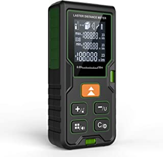 Klearlook Advanced Laser Measure 165 Ft M/In/Ft Mute Laser Distance Meter with Bubble Level,Backlit LCD and Pythagorean Mode,Measure Distance,Area and Volume - Carry Pouch and Battery Included
