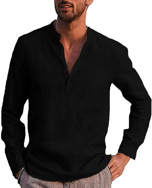 LEIYAN Mens Linen Henley Shirts Casual Long Sleeve Stand Collar V-Neck Tops Beach Hippie Fishing T-Shirt Tops
