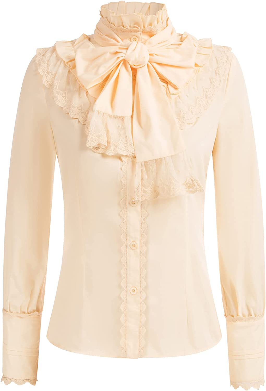 Belle Poque Womens Lace Trim Victorian Lolita Top Blouse with Detachable Bow-Tie