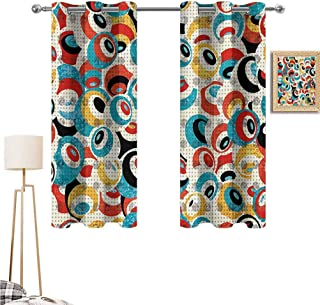 """1GShophome Psychedelic Fun Curtains Retro Theme Circle Pattern Evil Eyes Design Techno Trance Design Art Print Suitable for Any Room Scene Multicolor 55""""x 45"""""""