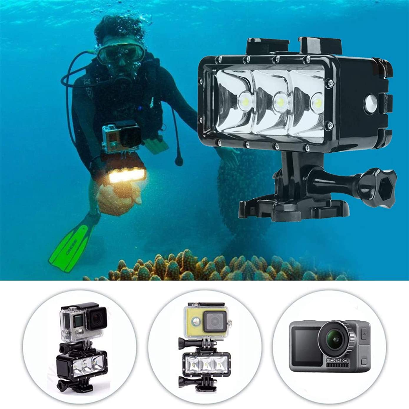 Dirance Underwater Flashlight Camera Fill Light -40M Waterproof 3LED Dive Light 300LM, Camera Accessories