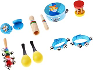 FITYLE Baby Kid Percussion Toy Wooden Rattle Maracas Instrument Music Shaker Set - 10Pcs for Boy