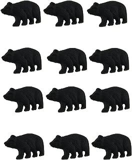 Zeckos 12 Piece Matte Black Forest Bear Cast Iron Drawer Pull Cabinet Knob Set