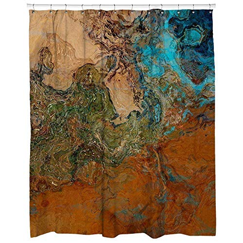 Abstract art shower curtain, southwest bathroom decor in rust and turquoise, Canyon Sunset