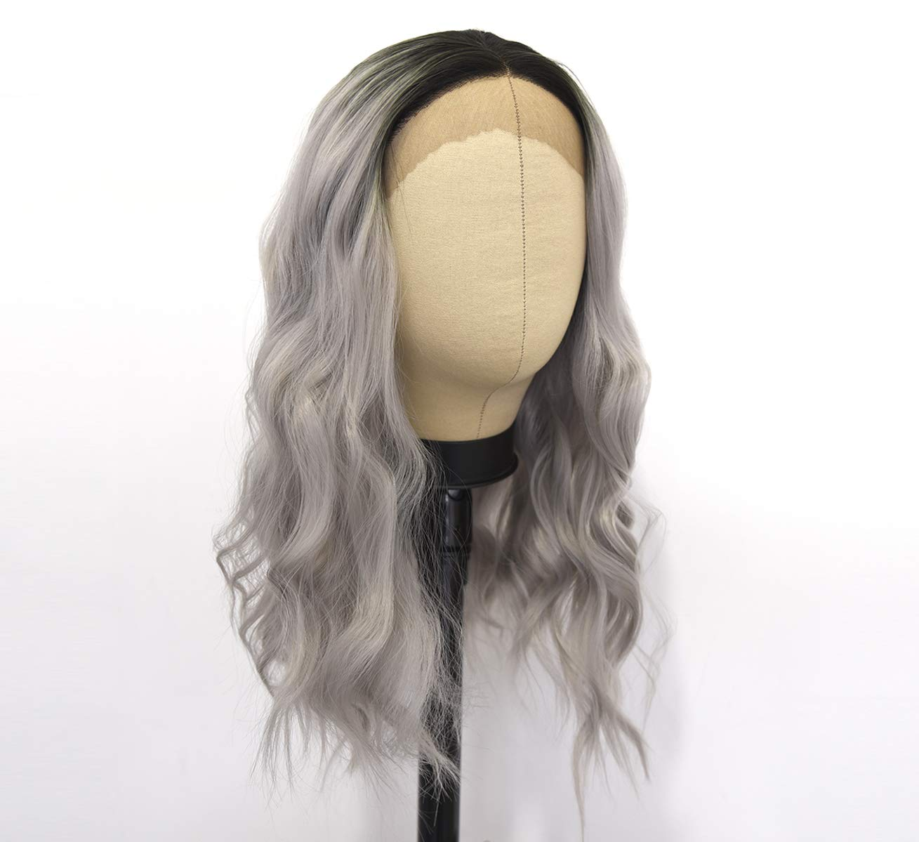 LANOVA Ombre Grey Wigs with Black Fro Lace SALENEW大人気! Curly Synthetic タイムセール Roots
