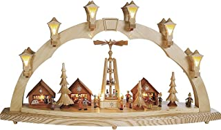 Richard Glässer Seiffen German Candle Arch Christmas fair, Length 80 cm / 32 inch, Natural, electrically Illuminated, Orig...