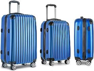 Luggage Set | Wanderlite 3 Pieces Hardshell Spinner Suitcase TSA Lock Trolley Lightweight Suitcase Organizer Sets with Scale | Blue