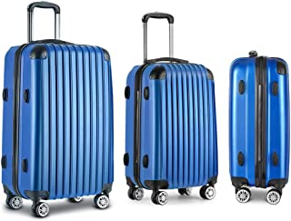 Luggage Set | Wanderlite 3 Pieces Hardshell Spinner Suitcase TSA Lock Trolley with Scale | Blue