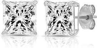 14k Gold Square Cubic Zirconia Princess-cut CZ Stud Earrings, Unisex