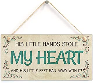 zhongfei His Little Hands Stole My Heart His Little Feet Ran Away with It Boys Nursery Decor New Baby Gift (5