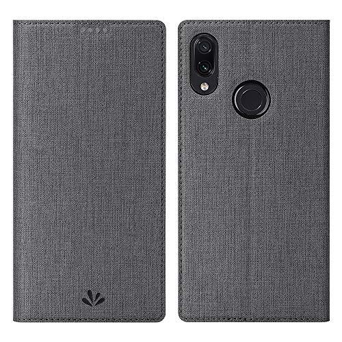 DDJ Redmi Note 7 Hülle, Wasserdicht PU Leder Tasche Flip Klappbares Hülle Cover Standfunktion Kartenfach TPU Stoßstange Wallet Holder Schutzhülle Handyhülle für Xiaomi Redmi Note 7 (Grau)