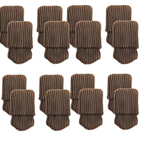 Mogokoyo 16 x Stuhlbeinsocke Möbel Socken Anti-Rutsch Wollsocken Hocker Fessel Tabellen Cotton Caps Fußboden Schutz Stuhl Bein Floor Protector(Kaffe)