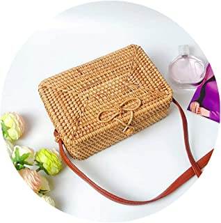 JOFOW Handwoven Bag Women Round Rattan Woven Straw Purse Rectangle Beach Crossbody (A)